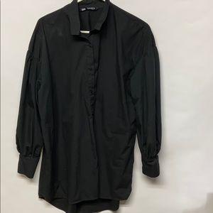 Zara voluminous Poplin shirt black size large